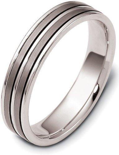 Titanium Ring Dora (5mm Wedding Titanium and Platinum Band Ring - 12.25)