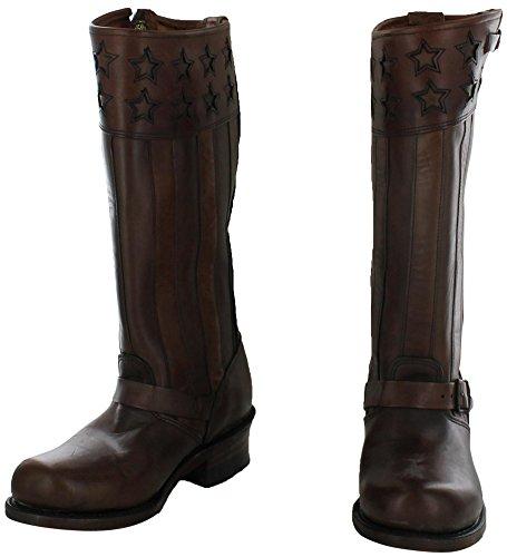 New Frye Engineer Americana Tall Dk Brown Vintage Leren Laarzen Dames Dk Bruin Vintage Leer