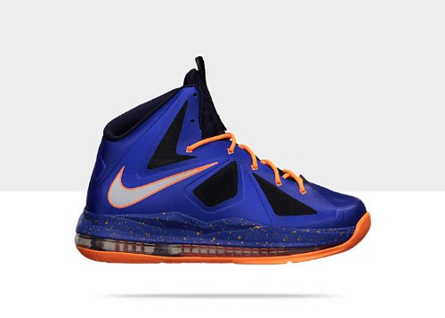 Nike Lebron X QGB (GS) Grade School COLOR Hyper Blue / Blackened Blue/Bright Citrus / Pure Platinum 543564-401 (SIZE: 6 by NIKE