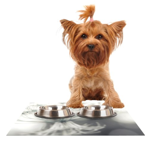Kess InHouse Debbra Obertanec Queen  White Flower Feeding Mat for Pet Bowl, 24 by 15-Inch