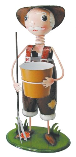 Tierra Garden 5772 Metal Figurine Collection 30-Inch Grandpa with Pot