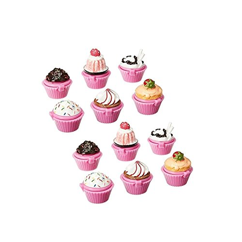 Adorox 12pc Scented Novelty Cupcake Lip Gloss Lip Balm Makeup Girls Birthday Party Favors ()