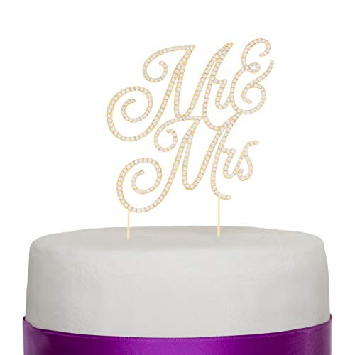 - Ella Celebration Mr and Mrs Wedding Cake Topper Rhinestone Monogram Decorations Mr & Mrs (Gold)