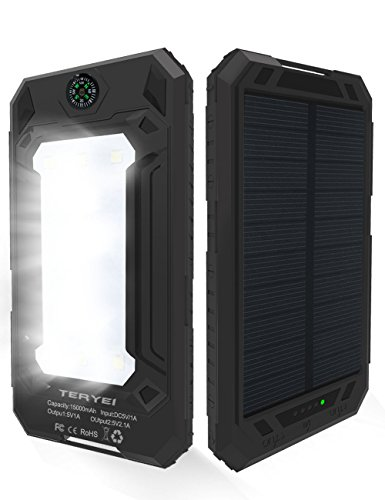 Solar Phone Charger 15000mAh,Teryei Solar Power Bank High Efficiency Portable Solar Cell Phone Charger with Solar Panel, Dual USB Solar Charger for Cell Phone