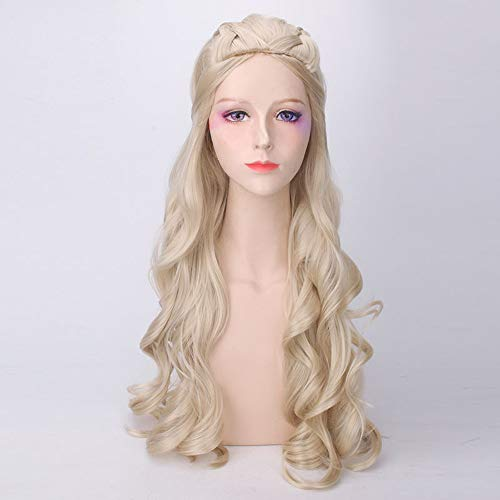Long Light Blonde Curly Wavy Hair Princess Allura Voltron Inspired Wig for Party Cosplay Anime Wigs game of thrones season 7 ()