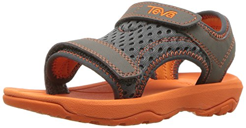 (Teva Boys' T Psyclone XLT Sport Sandal, Grey/Orange, 4 M US Toddler)