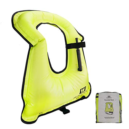 WACOOL Inflatable Snorkel Vest Safety Jacket Free Diving Portable Life Jacket for Swimming (Kids Neon Green) (Vest Snorkel Child)