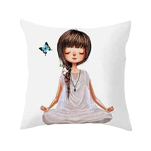 GREFER Cute Yoga Meditation Pillowcase Decoration Car Sofa Cushion Cover Waist Cushion Cushion Cover (White -D)