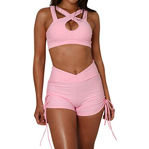 Womens 2 Piece Set Cross Bra and Shorts Outfits Fashion Elastic Tank Top with Short Pants Casual Two Piece Outfits (Pink, M)