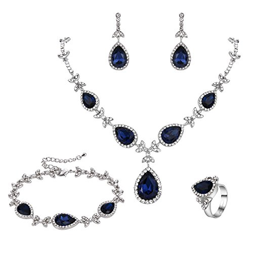 BriLove Wedding Bridal Jewelry Set for Women Crystal Floral Leaf Teardrop Y-Necklace Tennis Bracelet Dangle Earrings Resizable Ring Set Navy Blue Sapphire Color Silver-Tone