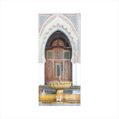 Decorative Window Film,No Glue Frosted Privacy Film,Stained Glass Door Film,Golden Historical Fountain Photo in Morocco Africa Antique Mousque Palace Heritage,for Home & Office,23.6In. by 47.2In Multi