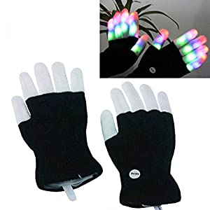 Luwint LED Colorful Flashing Finger Lighting Gloves (No Box Package)