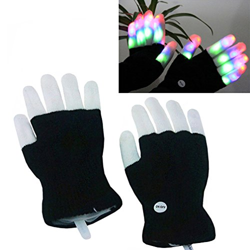 Luwint LED Colorful Flashing Finger Lighting Gloves -