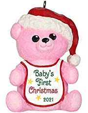 Hallmark Keepsake Christmas Ornament, Year Dated 2021, Baby Girl's First Christmas Pink Bear