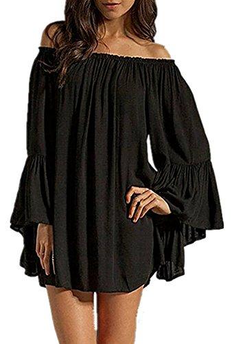 Vestito y Donne Mini Dell'increspatura Alivila Spalla Di Maglietta Delle Boho Camicetta Dalla Moda Off Manicotto Nero 4fp6wEnq