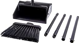 Carlisle 36141503 Duo-Pan Dustpan & Lobby Broom Combo, 3 Foot Overall Height, Black