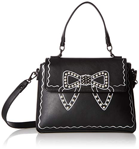 Betsey Johnson Pearl Bow Crossbody Bag, black