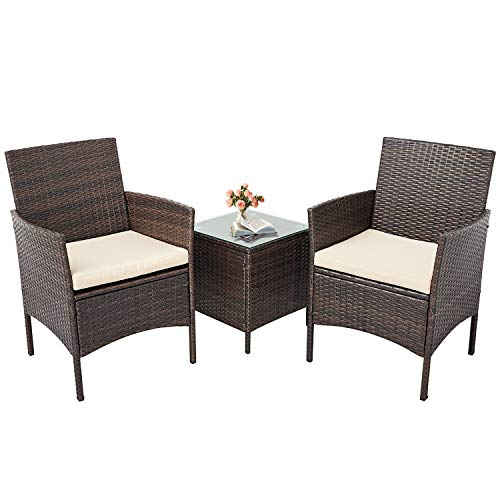 Incbruce Patio Bistro Set 3-Piece Outdoor Wicker Furniture Sets, Brown Modern Rattan Garden Conversation Chairs with Brown Glass Top Coffee Table, Beige Cushion