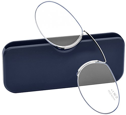 Pince Nez Style Clamp Nose Resting Pinching Reading Glasses (BLUE, 2.00) -
