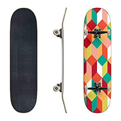 EFTOWEL Skateboards Seamless Pattern of Colored Cubes Endless Multicolored Cubic Classic Concave Skateboard Cool Stuff Teen Gifts Longboard Extreme Sports for Beginners and Professionals : Sports & Outdoors
