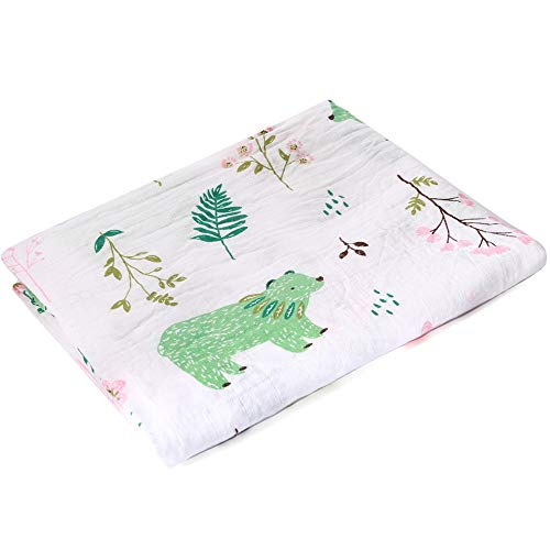 Muslin Swaddle Blankets Silky Soft 100% Cotton Absorbent 1 Pack 47×40 inch Large Muslin Swaddle Baby Shower Gift for Girl and Boy (Color NO13)