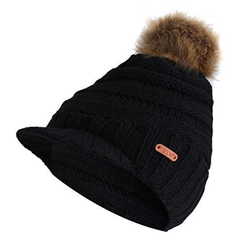 Clearance DEATU KLV Hat Men Women Winter Knit Ski Beanie Skull Slouchy Caps Unisex Baggy Warm Crochet Hat on sale(d-Black,One Size)