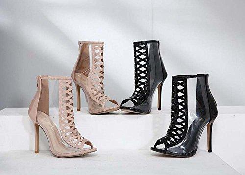 34 Shoes 11cm High Women 40 Short Charming Boots Toe Size Boots heeled Cool Stiletto Eu Hollow Color Zipper Black Transparent Pure Roman Peep RpxT5WqwS