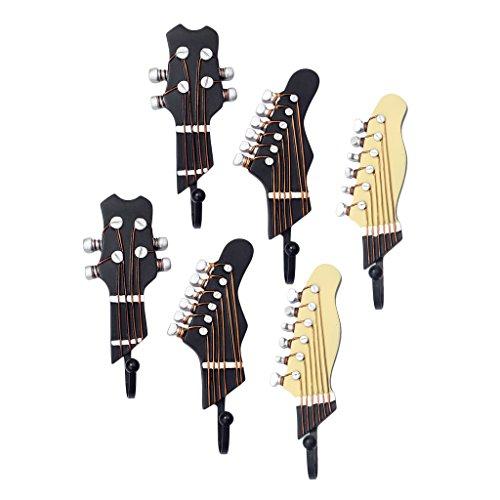 Baoblaze Gancho Montaje en Pared para Colgar Ropa Sombrero Forma Cabeza y Clavijeros de Guitarra (6 Piezas)