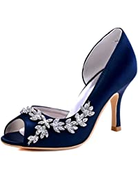 Women Peep Toe Rhinestones Pumps High Heel Satin Evening...