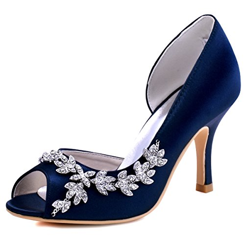 ElegantPark HP1542 Women Peep Toe Rhinestones Pumps High Heel Satin Wedding Bridal Dress Shoes Navy Blue US 8