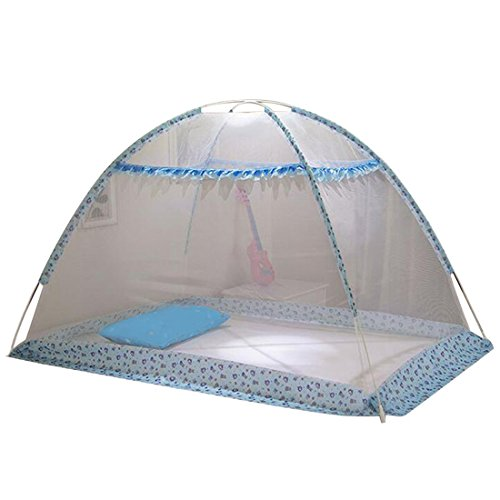 Qianle Baby Mosquito Netting Foldable Popup Dome Tent Bed Crib Canopy Net Blue L