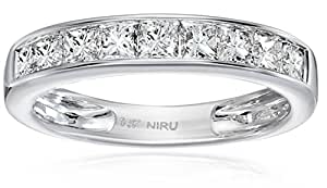 14k White Gold Princess-Cut Diamond Wedding Band (1cttw, H-I Color, SI2-I1 Clarity), Size 5