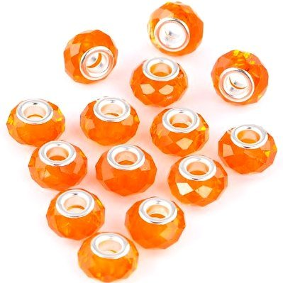 (10 Beads) of Halloween Orange Faceted Glass Charms for Bracelets