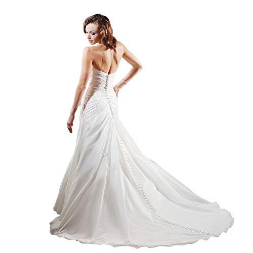 mit Zug GEORGE Kapelle Trompete Meerjungfrau Taft Applikationen Perlen BRIDE Hochzeitskleider Elfenbein Brautkleider Schatz wqwBUzO
