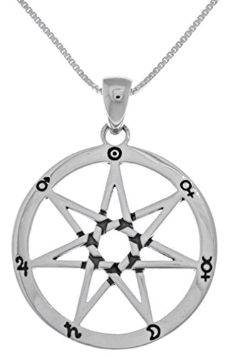 (Jewelry Trends Sterling Silver Seven Point Fairy Star Heptagram Pendant on 18 Inch Box Chain Necklace)