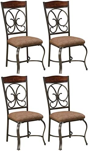 Signature Design by Ashley – Glambrey Dining Room Chair Set – Scrolled Metal Accents – Set of 4 – Brown