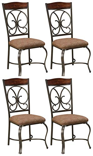 (Ashley Furniture Signature Design - Glambrey Dining Room Chair Set - Scrolled Metal Accents - Set of 4 - Brown)