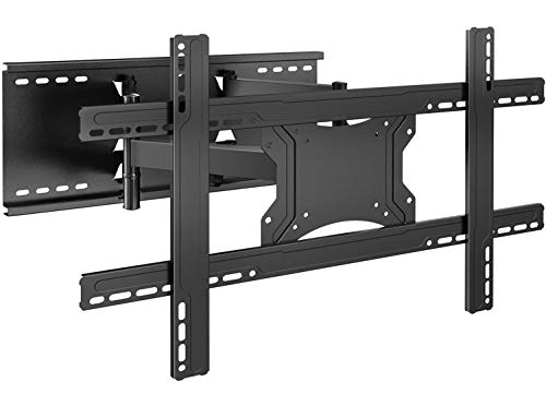 """Full Motion TV Wall Mount Bracket Dual Articulating 6 Arms for 37-70 Inch Flat Screen TVs - PERLESMITH TV Mount Fits 16""""- 24"""" Wood Studs, up to 132lbs with Tilts, Swivels, Rotation, Max VESA 600x400mm"""