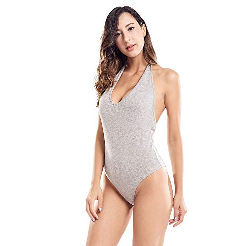 Bodysuit for Women Sexy Deep V Neck Halter Leotard Low Cut Sleeveless Tank Top Grey Small
