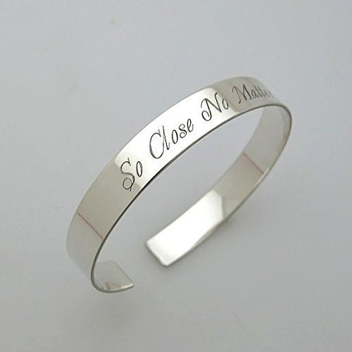 ab0f045c34eb1 Amazon.com: Sterling Silver Bracelet - Both sides Engravable Cuff ...