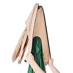 Cubierta protectora para paraguas de patio y exterior, portátil, de poliéster resistente al agua, para coser y quitar rápidamente, color marrón