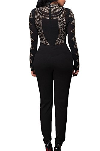 Pink Queen Women S Long Sleeve Sheer Rhinestone Bodycon