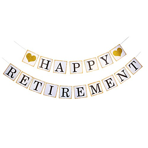 Happy Retirement Banner - Gold Glitter Heart For Retirement Banner Golden Edge Party Decoration Bunting (Happy Retirement Sign)
