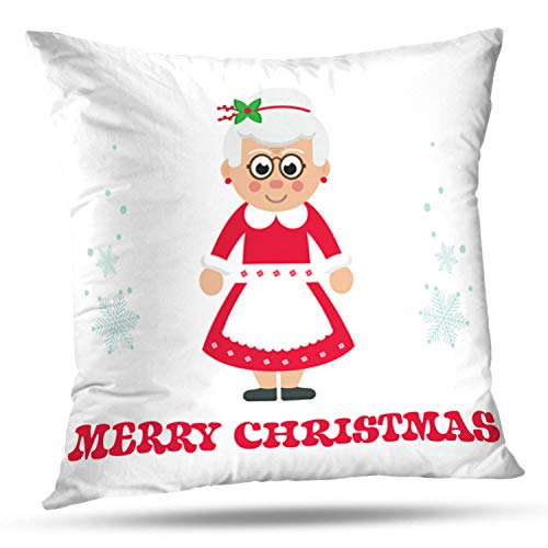 LALILO Throw Pillow Covers Cartoon Mrs Santa with Claus Celebration Character Double-Sided Pattern for Sofa Cushion Cover Couch Decoration Home Bed Pillowcase 18x18 inch ()