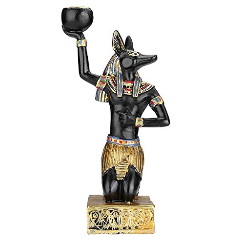 (dDanke Tea Light Candle Stand Egyptian Resin Figurine Candle Holder Black & Golden Painting for Family Office Decorations (Anubis))
