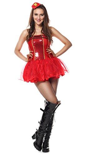 Ladies Sexy Sequin Light Up Firefighter Fireman Halloween Hen Do Fancy Dress Costume Outfit UK 6-16 (UK 10-12)