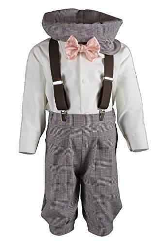 Boys Tan Plaid Knickers Pageboy Cap with Peach Rose Bow Tie & Suspenders (3T) by Tuxgear