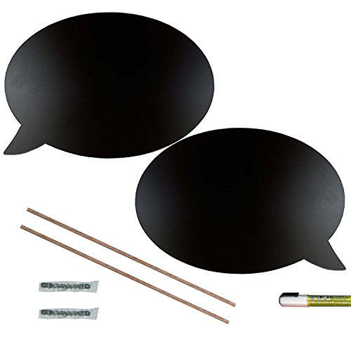 Cohas Chalkboard Speech Bubbles Includes Liquid Chalk Marker, 1 Left and Right Hand Pair, Large Talk Bubble Shape (Lettering Chisel)