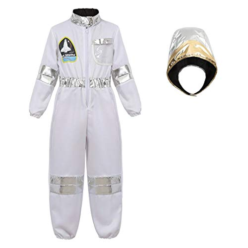 Astronaut Costume for Kids Dress Up Jumpsuit for Boys Girls Halloween Costume Children's Role Play Spaceman Suit Set White-M -