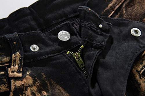 Dritti Pieghe Casual Libero Slim Jeans Per Skinny Copper Elasticizzati Cotone Fit Giovane In Da Il Uomo A Tempo qwUUIXS